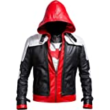 Lasumisura Replica Style Red Hood Men's Faux Leather Jacket + Vest