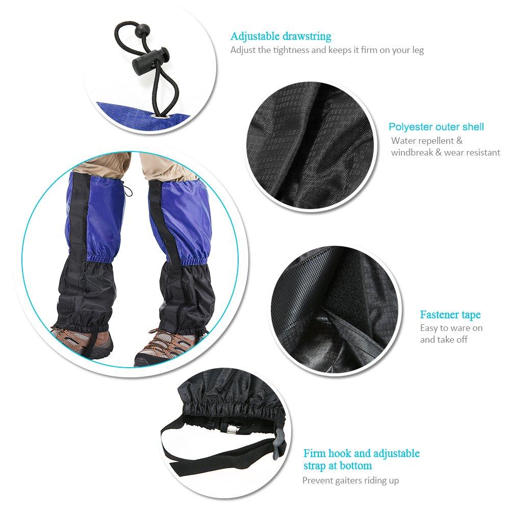 Lixada 1 Pair Snow Leg Gaiters Snow Leg Boot Cover Strap Outdoor High Gaiter for Climbing Skiing River Tracing JYE3845160040425ZA