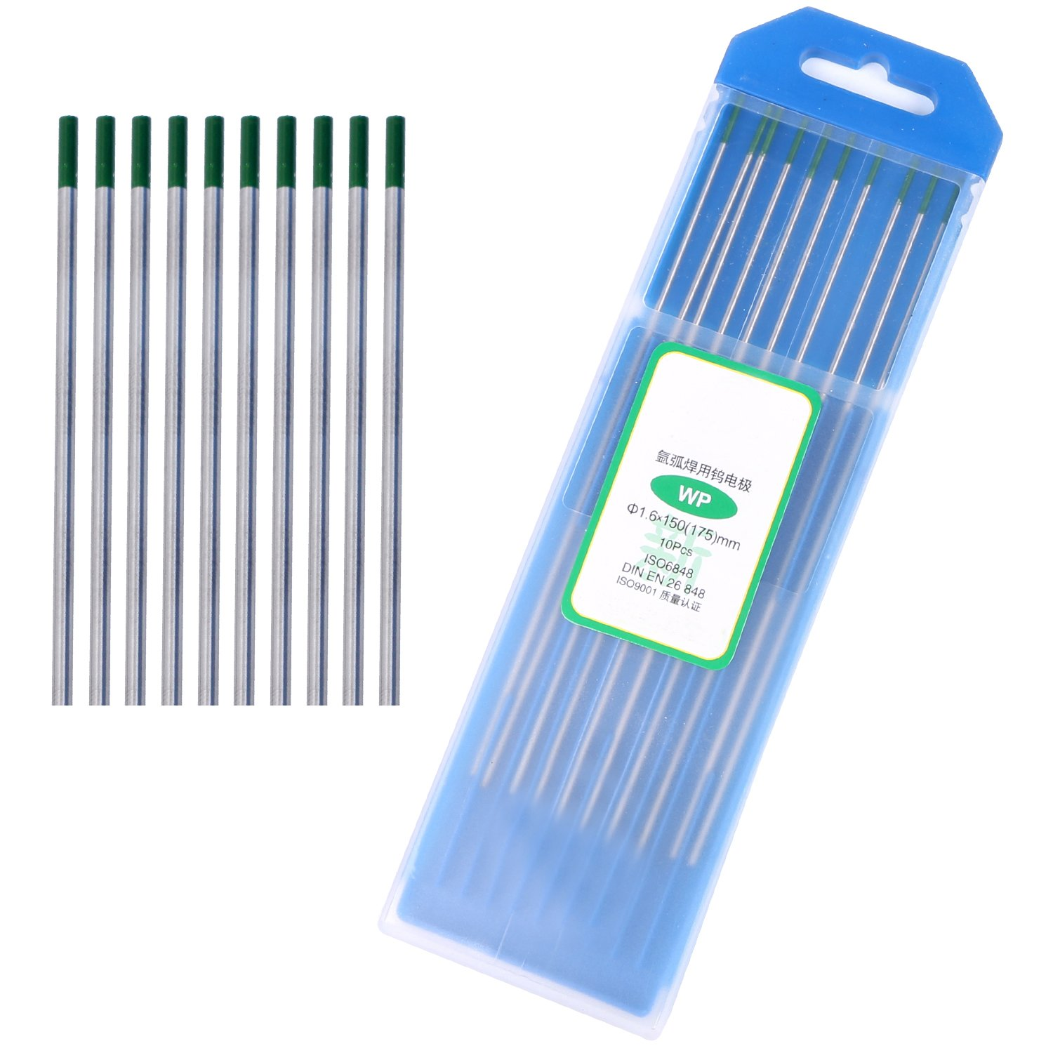 "DAHAN 10 Pieces TIG Welding Tungsten Electrodes Green for Aluminum Pure Tungsten Welding Rod (WP20) Diam: 5/64""(2.0mm)"
