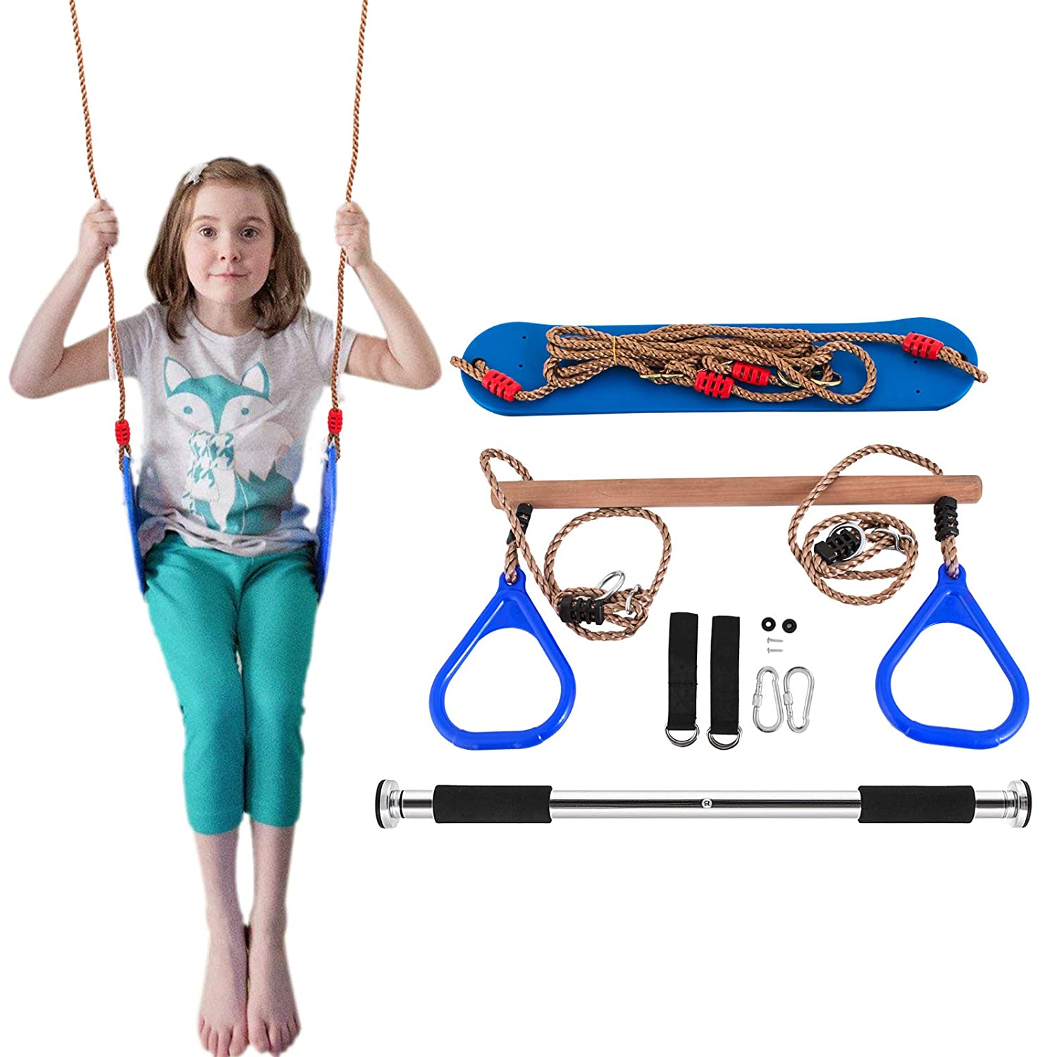Popsport Trapeze Bar with Rings Gymnastic Swing Set Combo for Outdoor Play, Backyard Swing Set, Jungle Gym