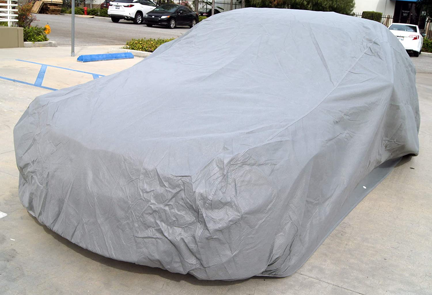 Tuningpros CC-S1 Multiple Layers Non-Woven Fabric Car Cover Waterproof Rain Barrier Fit up to Size 159.8 x 65.0