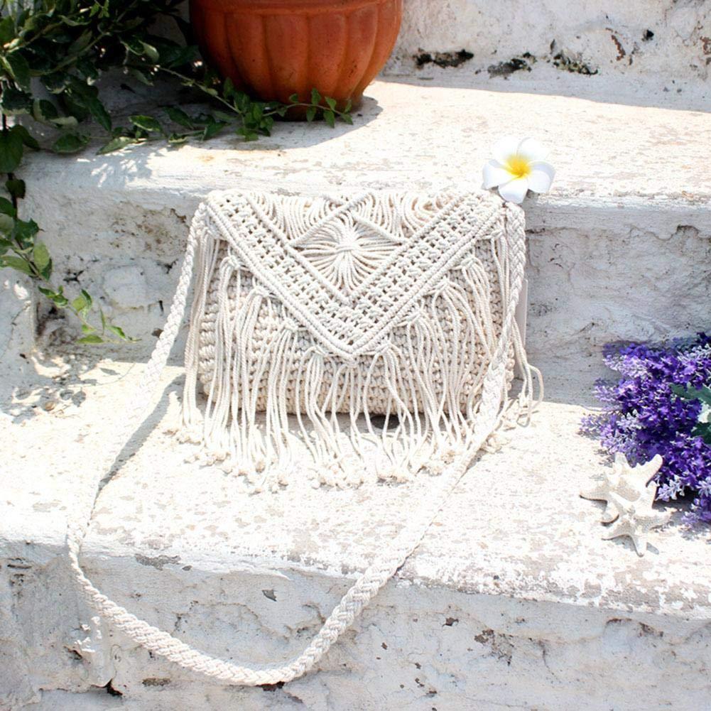 by newzeroin Ivory Woven Vintage Tassel Shoulder Handbags Women Flap Crossbody Bags