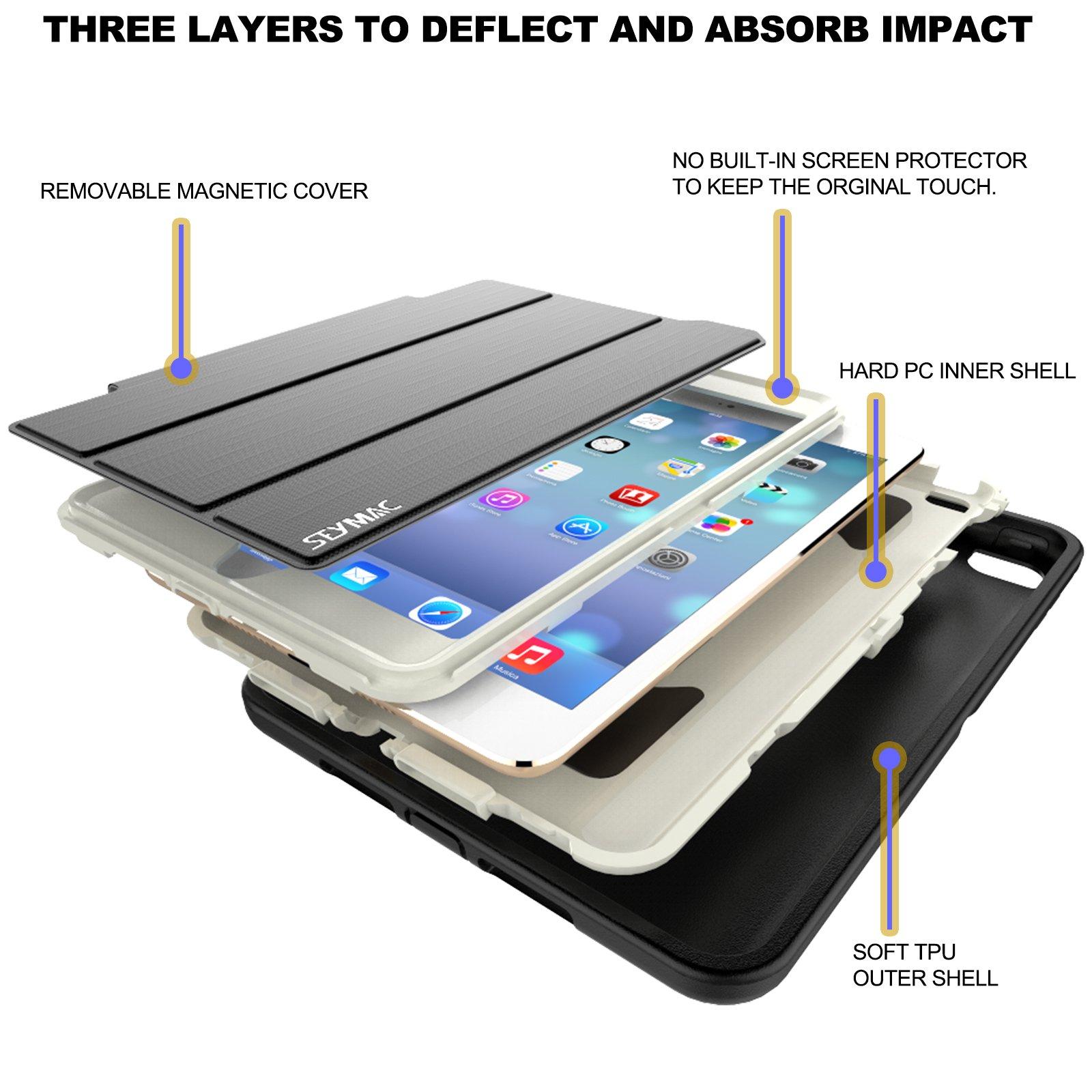 SEYMAC Compatible with iPad Mini 1/2/3 Case, Three Layer Drop Protection Rugged Protective Heavy Duty Case Magnetic Smart Auto Wake/Sleep Cover for iPad Mini 1/2/3(Black/Cream)
