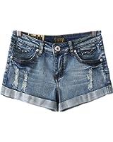 Unomatch Women's Denim Light Blue Casual Short