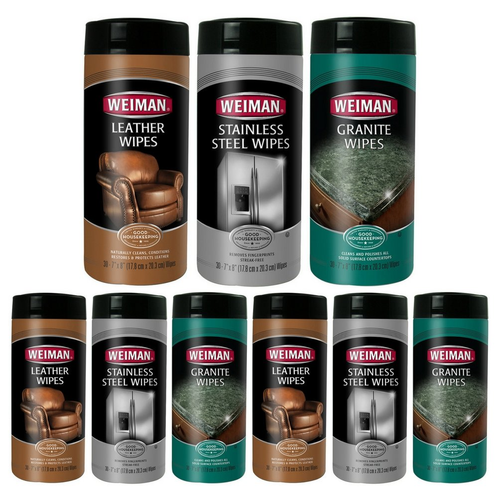 Weiman WP00874 Weiman Stainless Steel, Leather & Granite Wipes Care Set (3 pack)