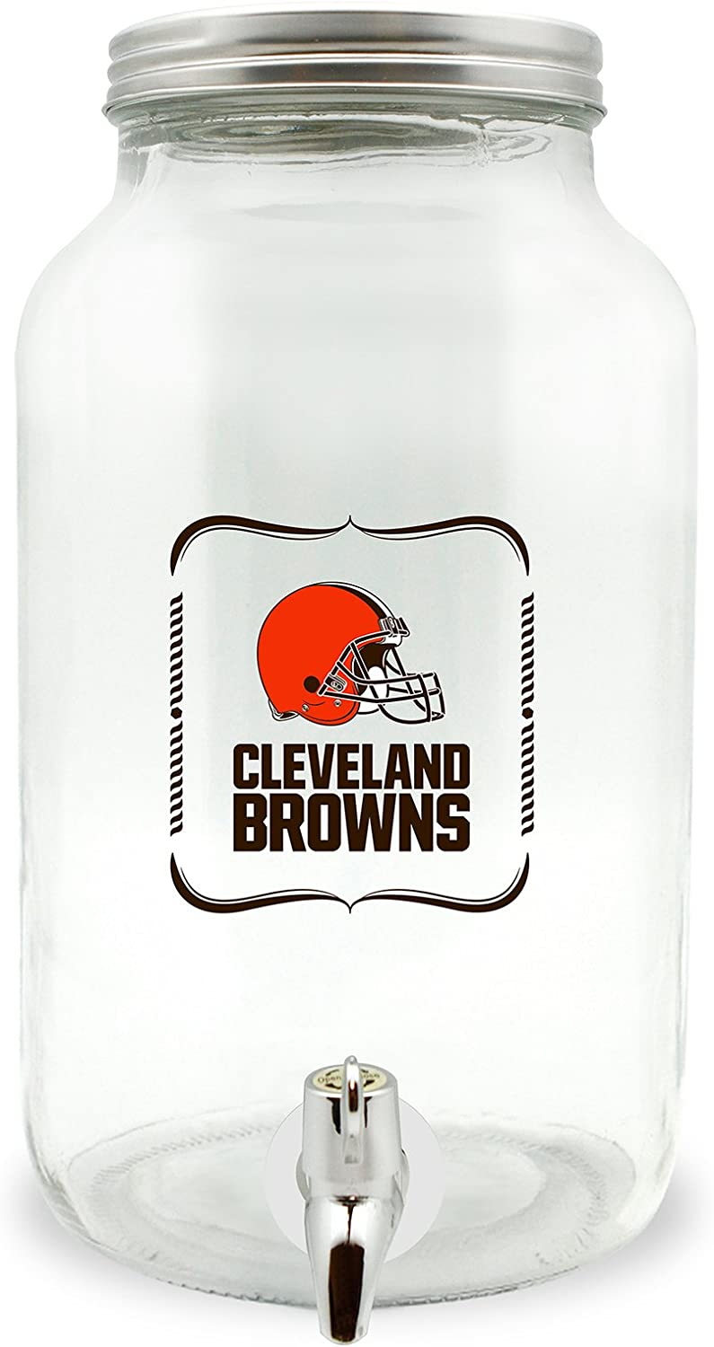 NFL Cleveland Browns Glass Drink Dispenser / Sun Tea Jar, 3 Liter