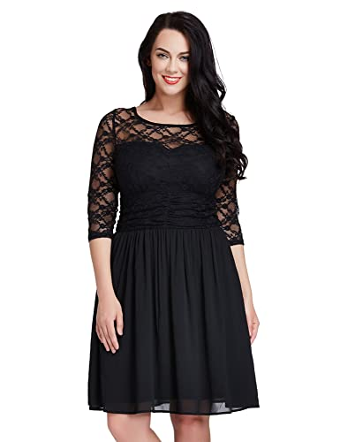 LookbookStore Womens Plus Size Lace Top Chiffon Skirt A-line Skater Formal Dress