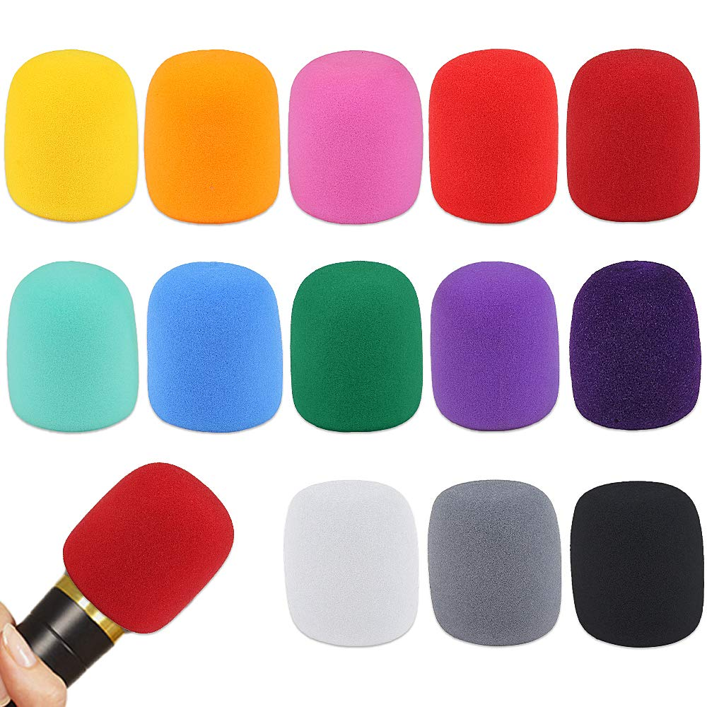 uxcell 2PCS Thicken Sponge Foam Mic Cover Handheld Microphone Windscreen Blue Yellow for KTV