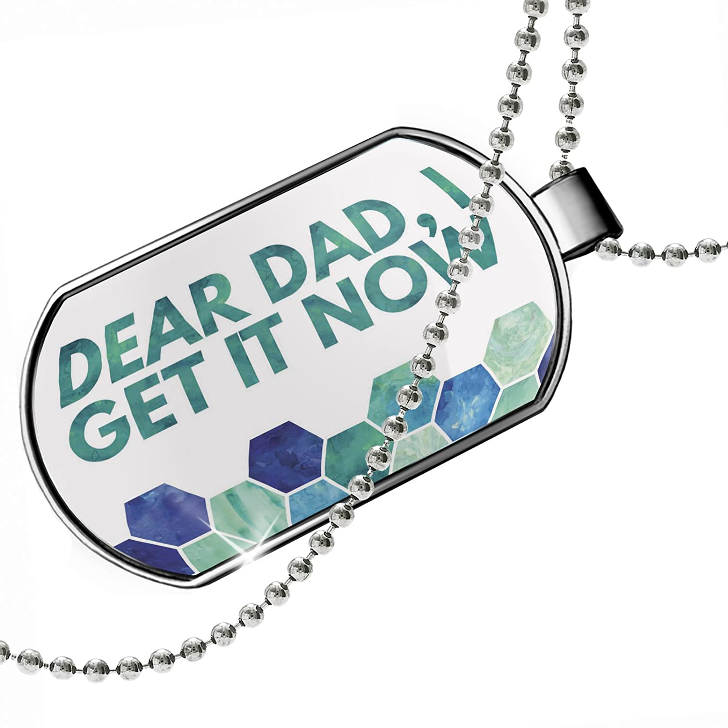 NEONBLOND Personalized Name Engraved Dear Dad I Get It Now Fathers Day Watercolor Honeycomb Blue Dogtag Necklace