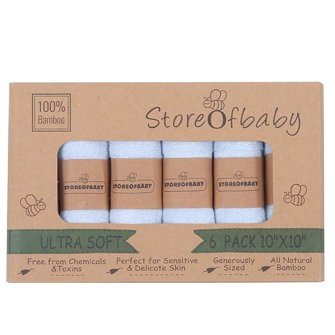 Storeofbaby Toallitas para bebés Toallas reutilizables ecológicas de fibra de bambú 6 paquete de 10