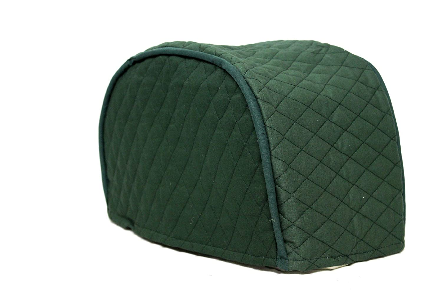 "4 Slice Toaster Cover - Long Slot (15.75""x8""x8"") / Quilted Double Faced Cotton, Hunter Green"