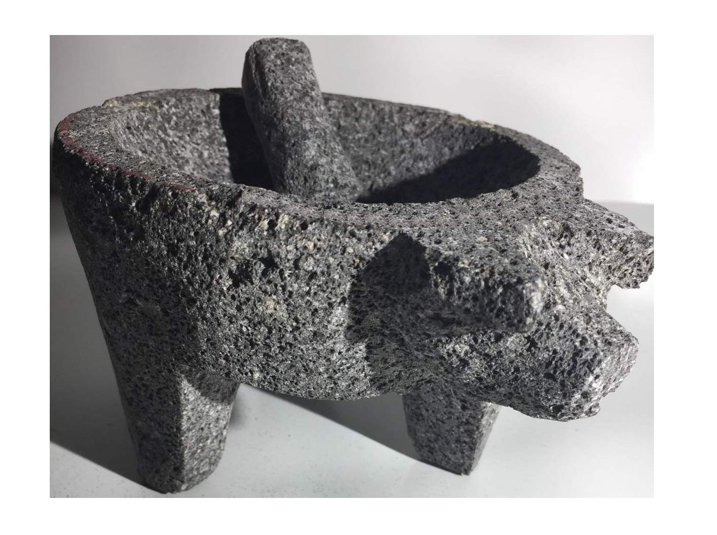 Made in Mexico Piggy Cerdo Puerco Genuine Mexican Manual Guacamole Salsa Maker Volcanic Lava Rock Stone Molcajete/Tejolote Mortar and Pestle Herbs Spices Grains 8'' Large Pig by always-quality