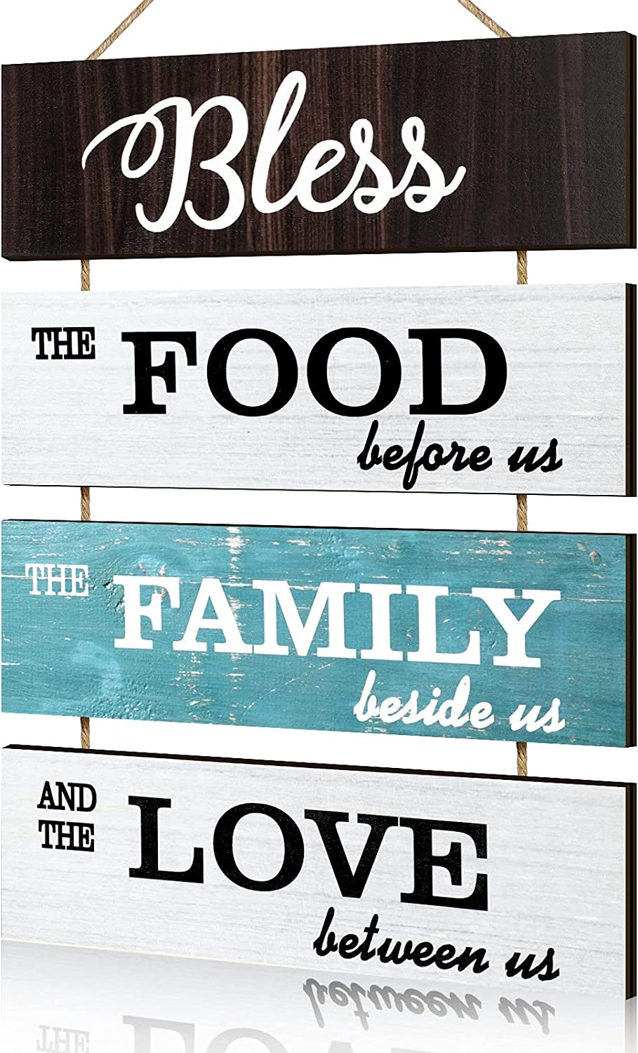 Jetec Bless Hanging Wall Sign, Large Hanging Wall Sign, Rustic Wooden Family Food Love Sign Decor, Hanging Wood Wall Decoration for Living Room Bedroom Outdoor (Modern Color)