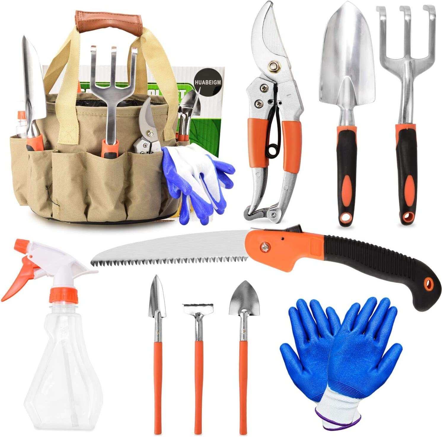 HUABEIGM 10 Piece Garden Tools Set, Aluminum Heavy Duty Gardening, Gardening Gifts for Women with Soft Rubberized Non-Slip Handle, Contain Water Storage Tool Storage Bag (10Piece)