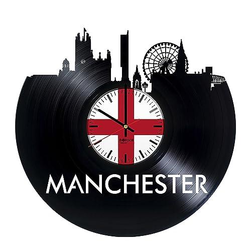 Amazon.com: Manchester skyline Vinyl Record Wall Clock Gift For Boys ...