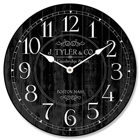 Harbor Black Wall Clock, Available in 8 Sizes, Most Sizes Ship 2-3 Days,