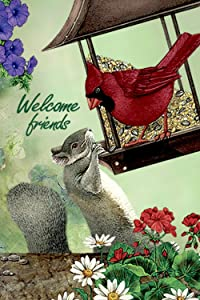 SUABO Polyester Garden Flag 12x18 Inches Welcome Cardinal Bird and Squirrel Decorative Flag for Party Yard Home Decor
