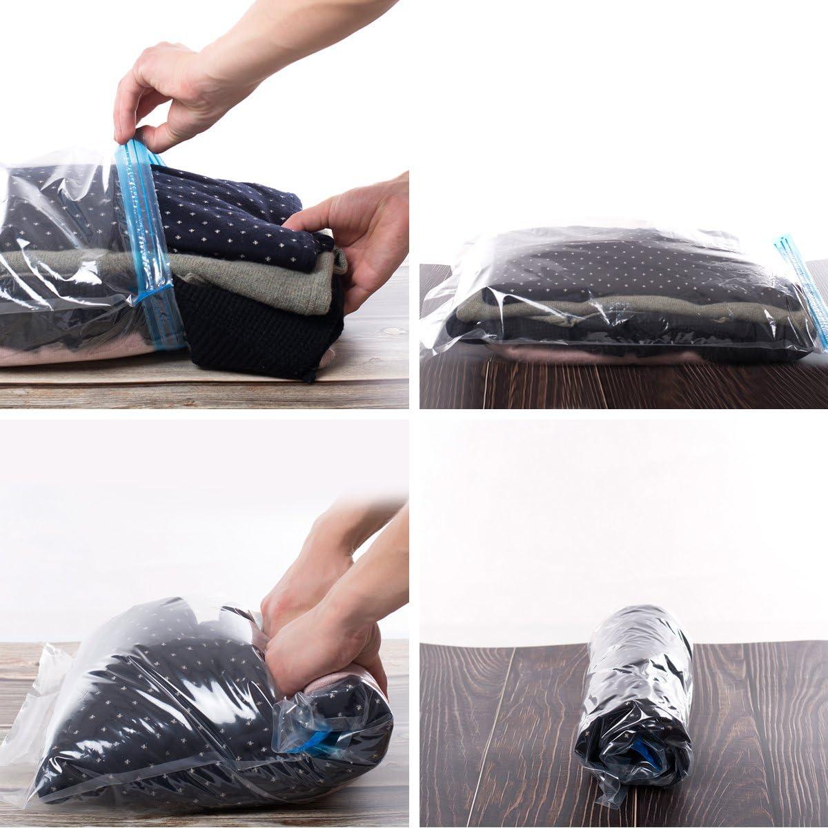 No Necesita una Bomba o Aspiradora Toallas 70x50cm Bolsas Transparentes para Viajes + 3*Medianas 3*Grandes Ropa Mantas 60x40cm Bolsas Vacio Ropa 6 Unidades