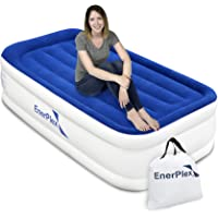 EnerPlex Luxury Twin Air Mattress with Built-in Pump Never-Leak Pillow Top Airbed Twin Size Double High Elevated Blow Up…