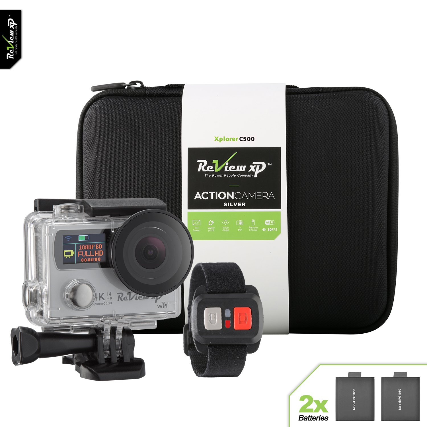Review XP 4K HD Wi-Fi Waterproof Action Camera 14MP 30fps Sports Video Underwater Camcorder 170° Wide Angle Dual Screen 2 Batteries Accessories Kit Carrying Case Remote Control - Silver