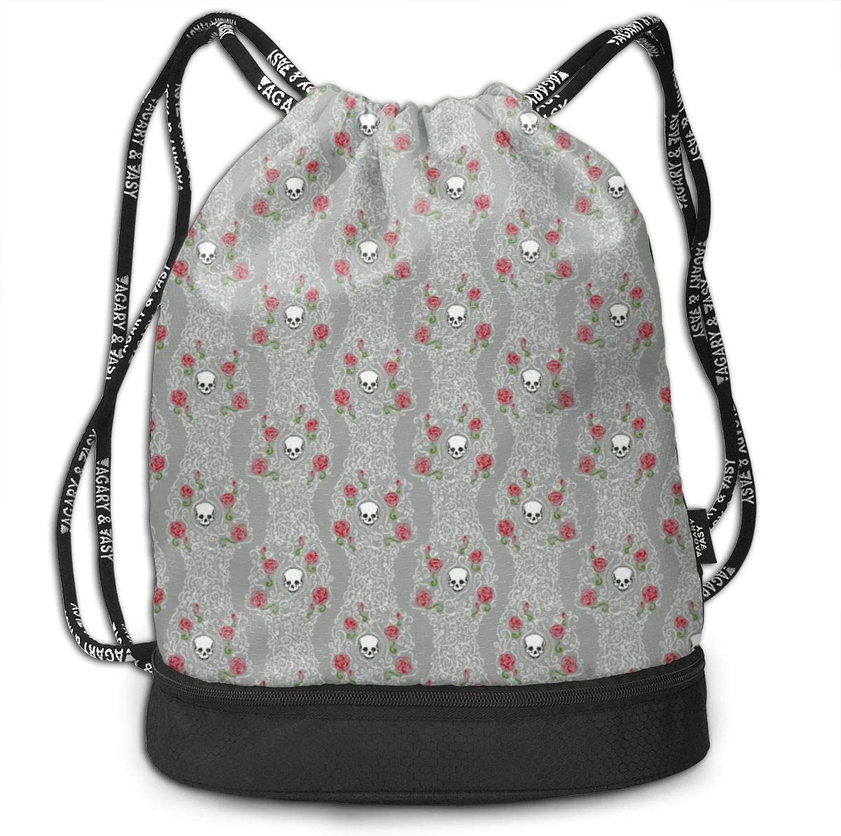 Where Wild Roses Grow Grey Drawstring Backpack Sports Athletic Gym Cinch Sack String Storage Bags for Hiking Travel Beach