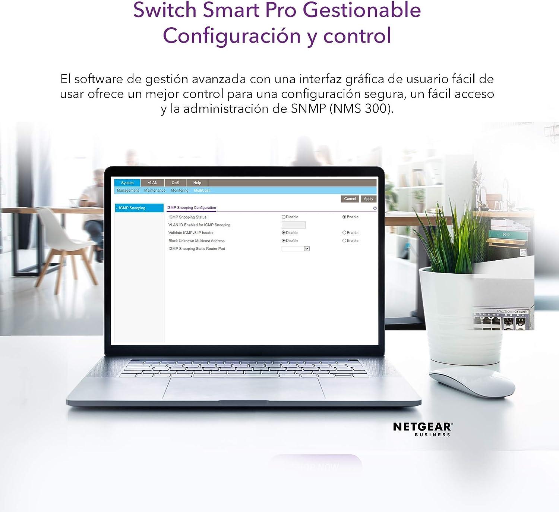 Netgear GS724T-400EUS ProSAFE - Switch gestionable, Azul, 24 ...