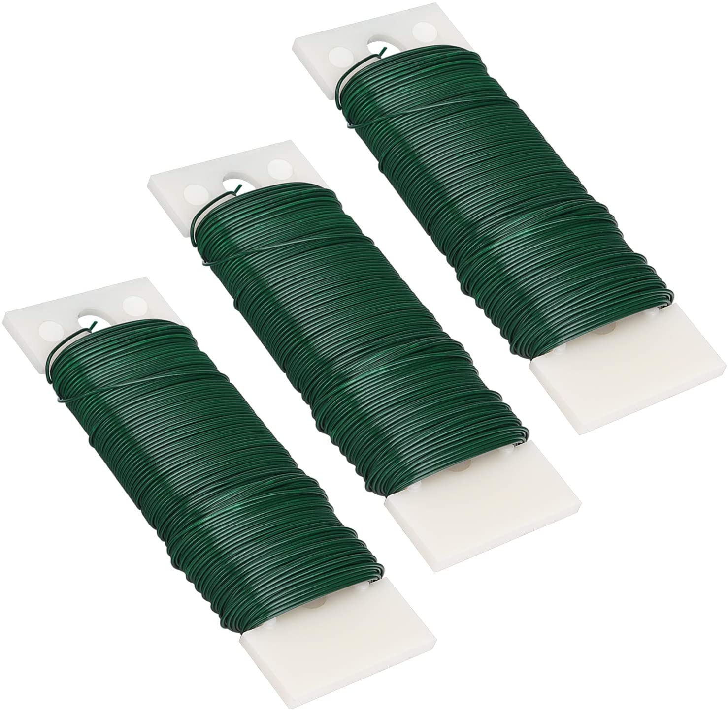 Livder 3 Pack 114 Yards 22 Gauge Green Flexible Paddle Wire for Crafts, Christmas Wreaths Tree, Garland and Floral Flower Arrangements