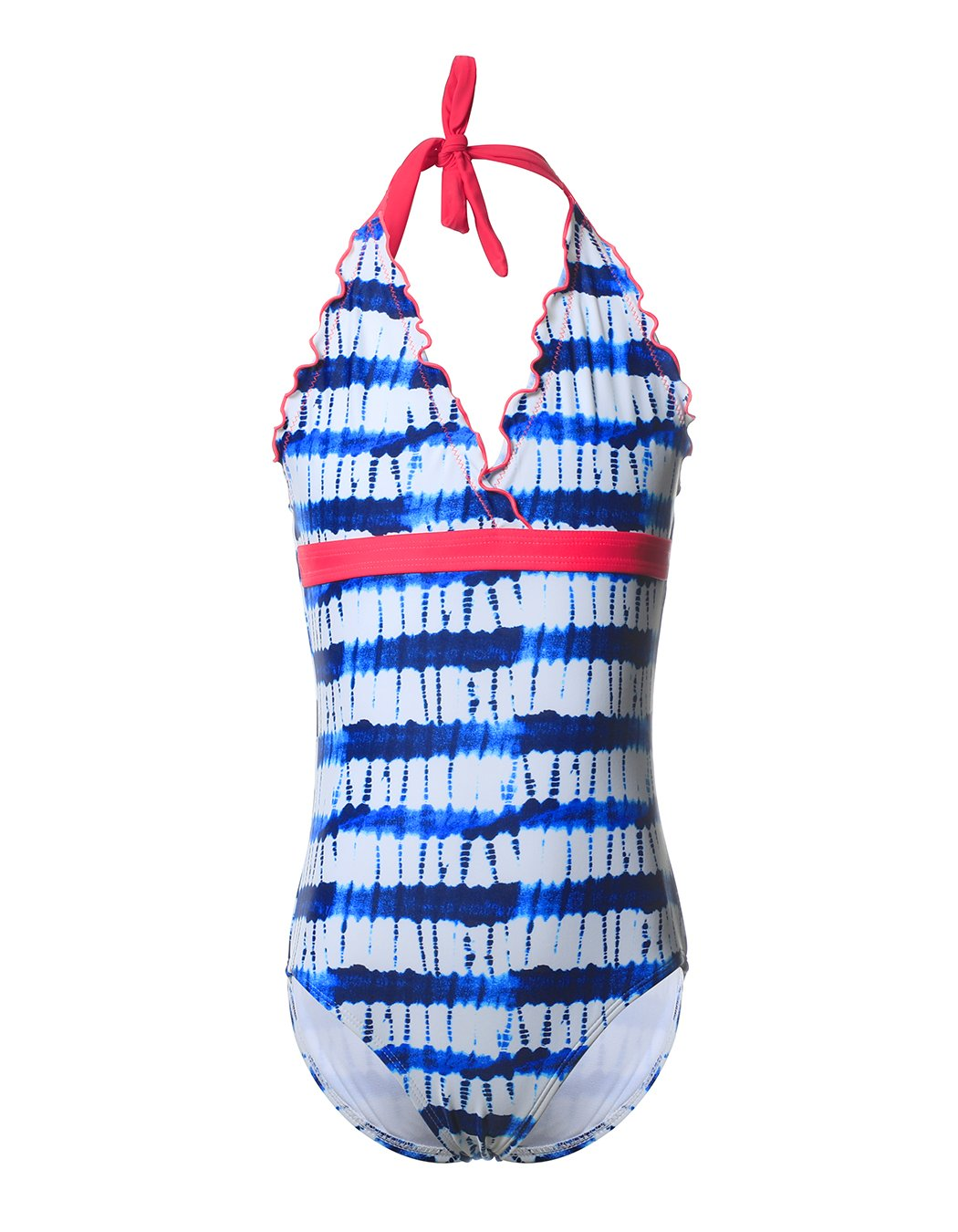 Kids Girls Gradient Blue Striped Halter Swimwear One Piece Bathing Swimsuit Sun Protective Swimming Suits, L (US 10-12), Blue