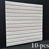 3D Brick Wallpaper ,Removable and Waterproof Art Wall Tiles PE Foam Self-adhesive Brick Stickers for Bedroom Living Room Modern Background TV Decor,23'' x 23''