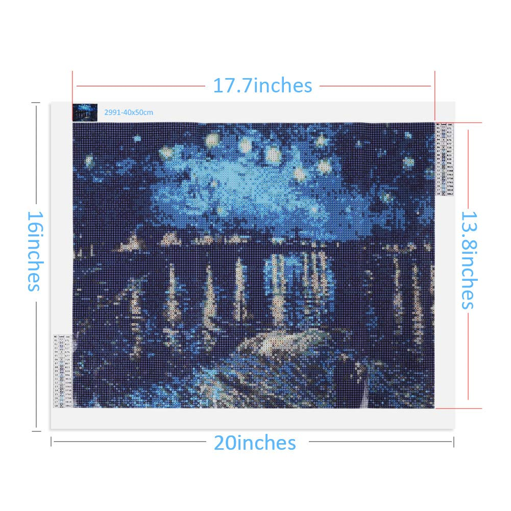 04634d284d UUJOLY 5D DIY Diamond Painting Kits Full Drill Circular Drill-Starry Night  for Home Wall Decor 16 x 20 Inches, Starry Night