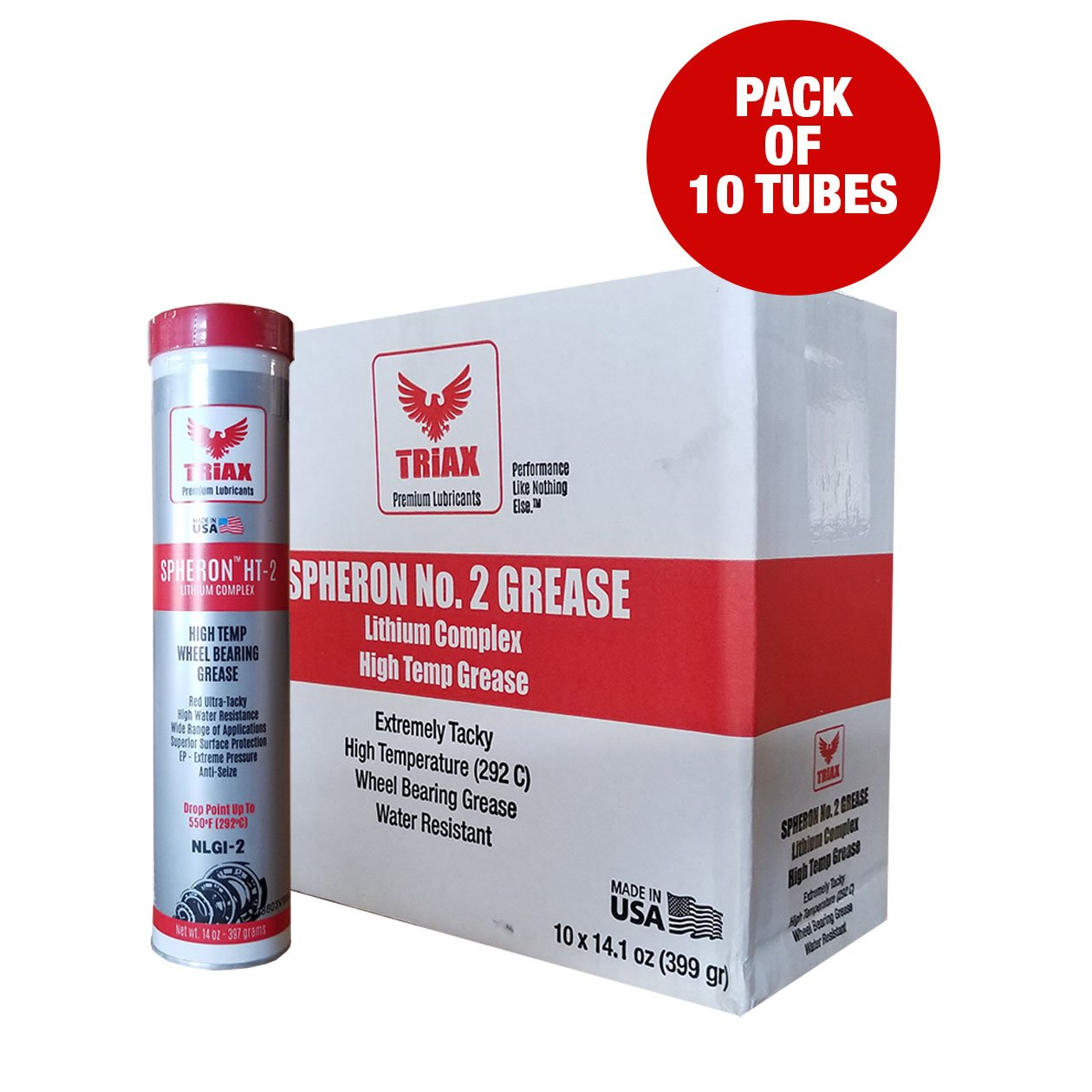 WHEEL BEARING GREASE- TRIAX SPHERON HT-2 Lithium Complex - HIGH TEMP (550F) - ULTRA TACKY - EXTREME PRESSURE - VIRTUALLY WATERPROOF (14 oz Tube - Pack of 10)