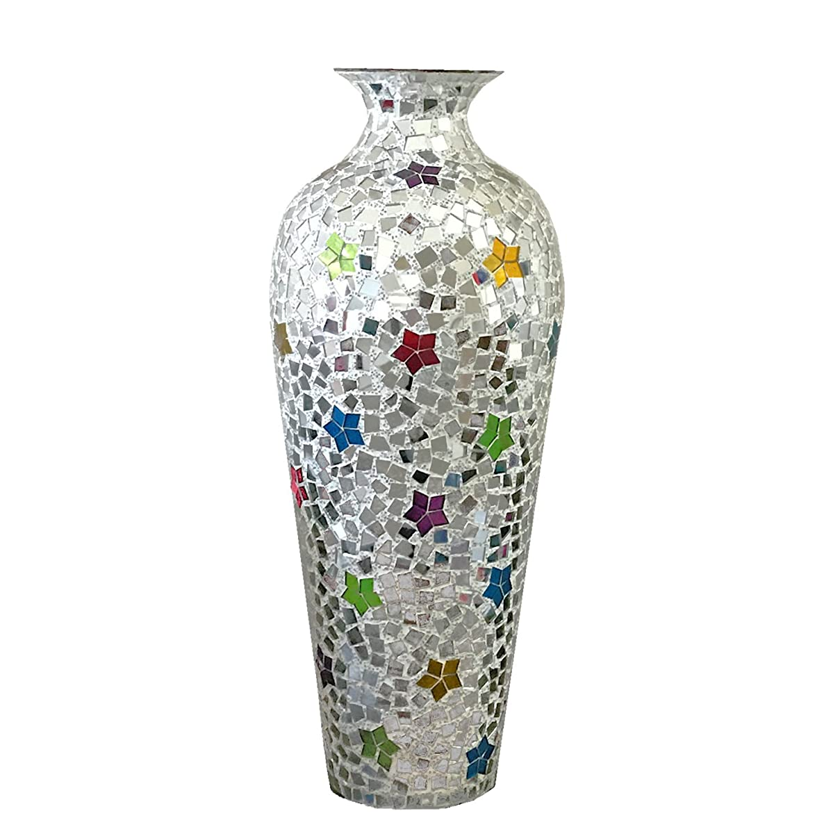 DecorShore Andalusian Vase -Sparkling Metal Vase with Moorish Floral Pattern Glass Mosaic Inlay, 20 in. Decorative Vase, Designer Vase (Rainbow)