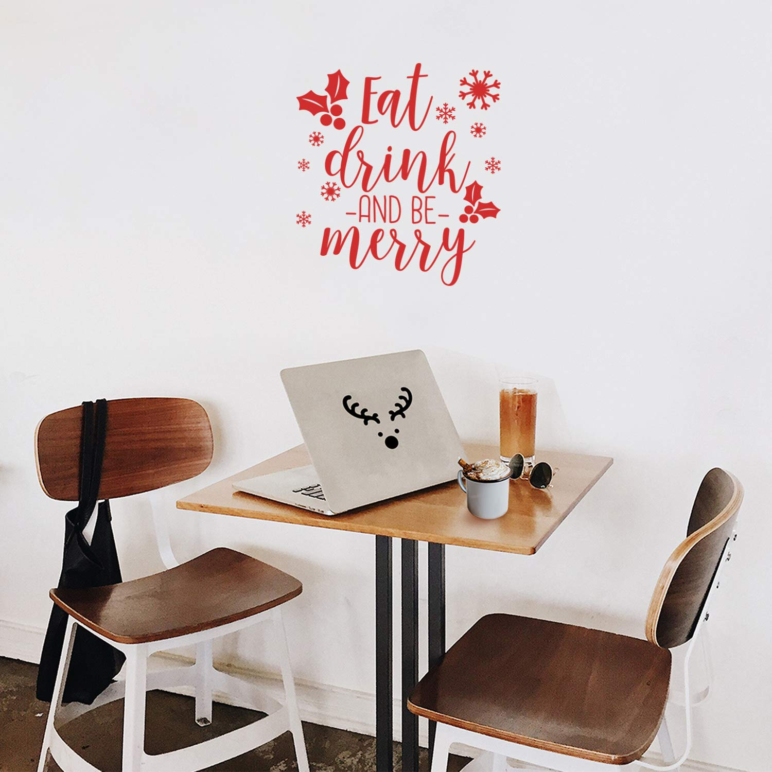 "Vinyl Wall Art Decal - Eat Drink and Be Merry - 18.5"" x 17"" - Trendy Cute Inspirational Christmas Holiday Season Quote Sticker for Living Room Dining Room Entry Door Storefront Shop Decor (Red)"