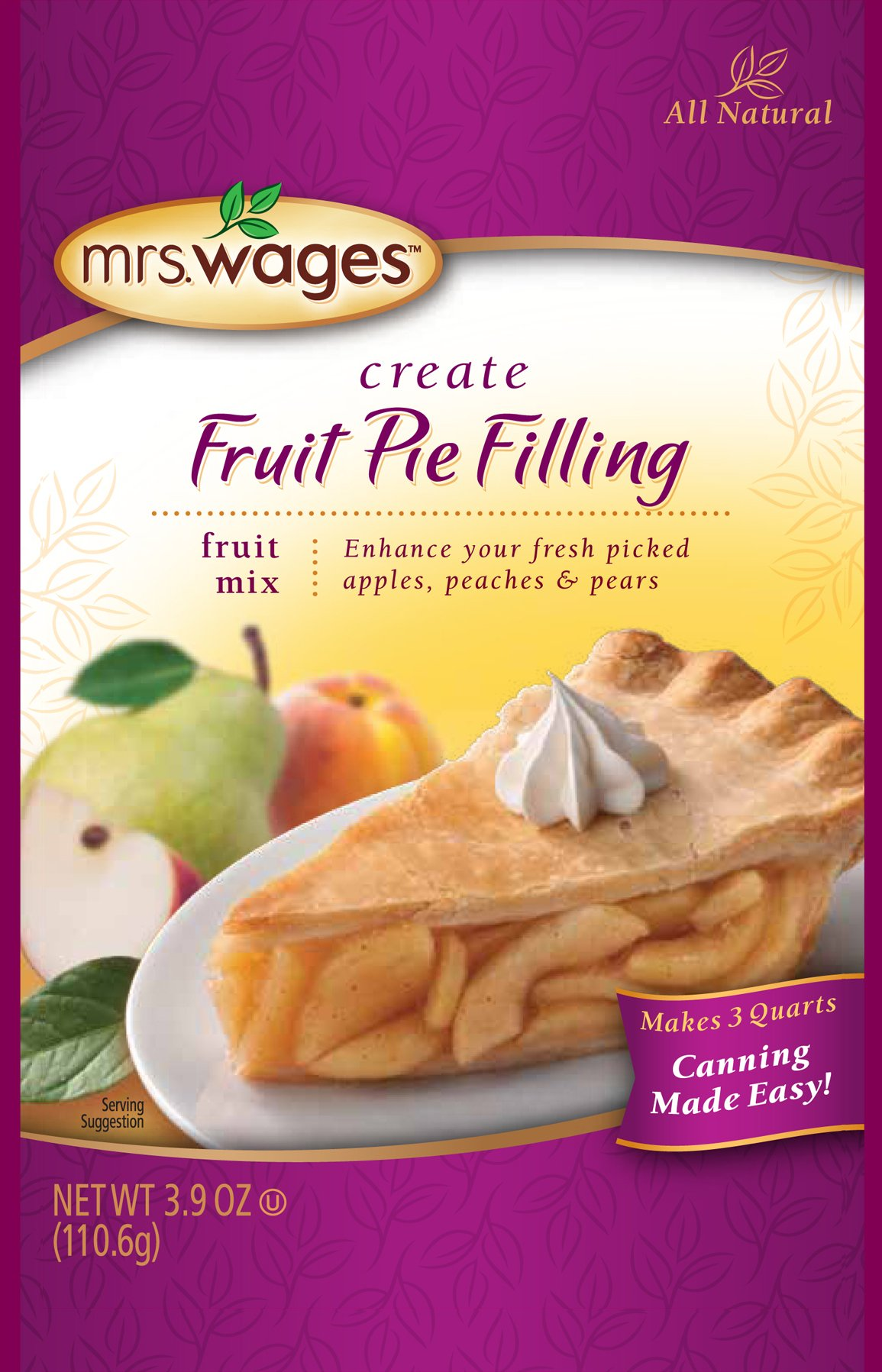 Mrs. Wages Pie Filling Mix, Fruit, 3.9 Ounce (Pack of 12)