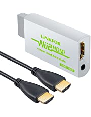 LiNKFOR Wii to HDMI converter With 3ft HDMI Cable Wii to HDMI Adapter Wii To HDMI 1080P Or 720P Output Video Converter & 3.5mm Jack Audio Output Wii HDMI Converter Supports All Wii Display Modes