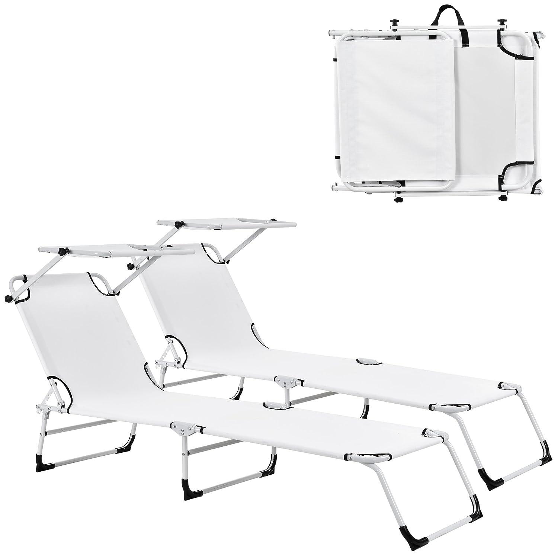 [casa.pro] Transats [2er Set] pliable 190cm blanc avec toiture pare-soleil de relax aluminium [casa.pro]®