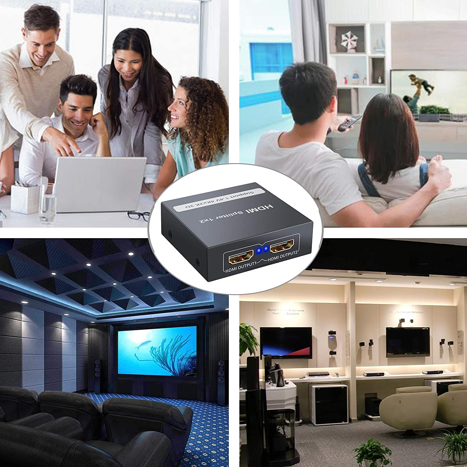 PS4 PS3 Fire Stick Blu Ray Apple TV HDTV CAMWAY HDMI Splitter 1 in 2 Out 1x2 Ports Box with HDMI Cable Supports Ultra HD 4K@30HZ 3D 1080P for Xbox