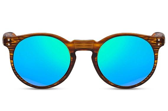 929af40cd7 Cheapass Lunettes de Soleil de bois Rondes Marron Reflétées en Vert et en  Bleu UV-