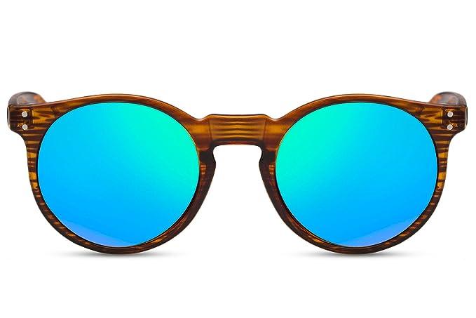 70d910ea2d Cheapass occhiali da sole rotondi legno marroni specchiati Verdi-blu UV400  retro vintage uomini donne