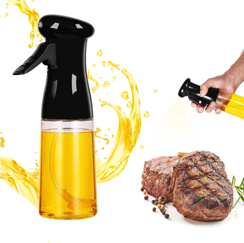 Olive Oil Sprayer for Cooking,Olive Oil Sprayer Mister for Air Fryer, Food Grade Kitchen Cooking Oil Bottle Mist Spritzer for Baking, BBQ, Salad, Frying, 7 oz / 210 ml,Black