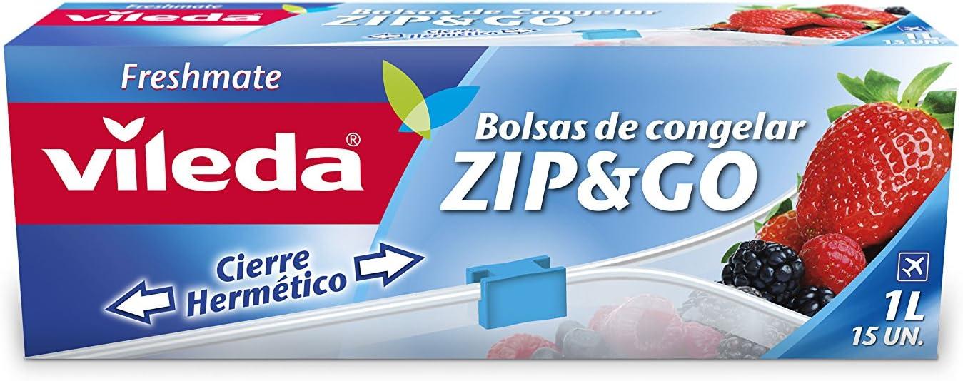 Vileda One Zip - Bolsas de congelación reutilizables con cierre cremallera hermético, 1 l