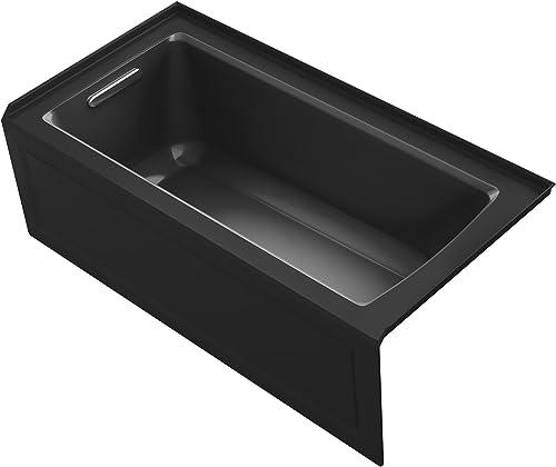 KOHLER K-1946-LA-7 Alcove Bath with Integral Apron, Tile Flange and Left Hand Drain, 60 x 30 , Black