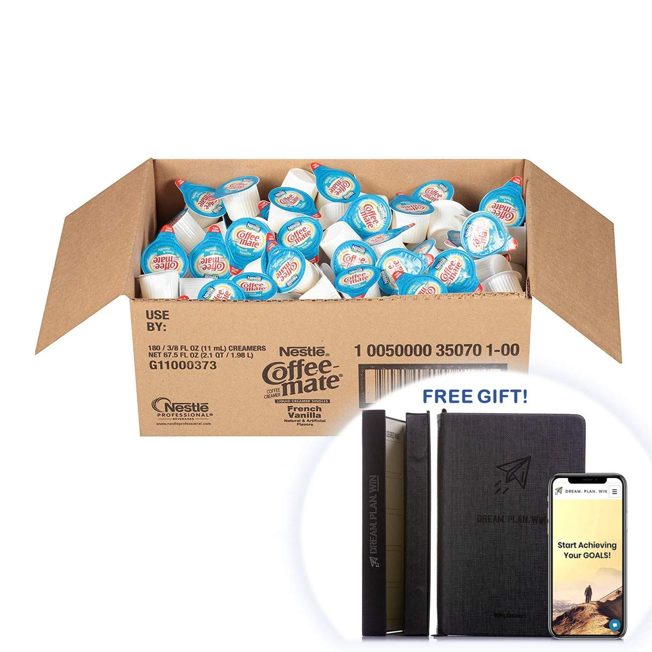 Coffee-mate 35070 Liquid Coffee Creamer, Mini Cups, French Vanilla (Box of 330) + FREE GIFT - PRODUCTIVITY PLANNER - Attain Your Dreams! (Coffee Creamers, Pack of 330)