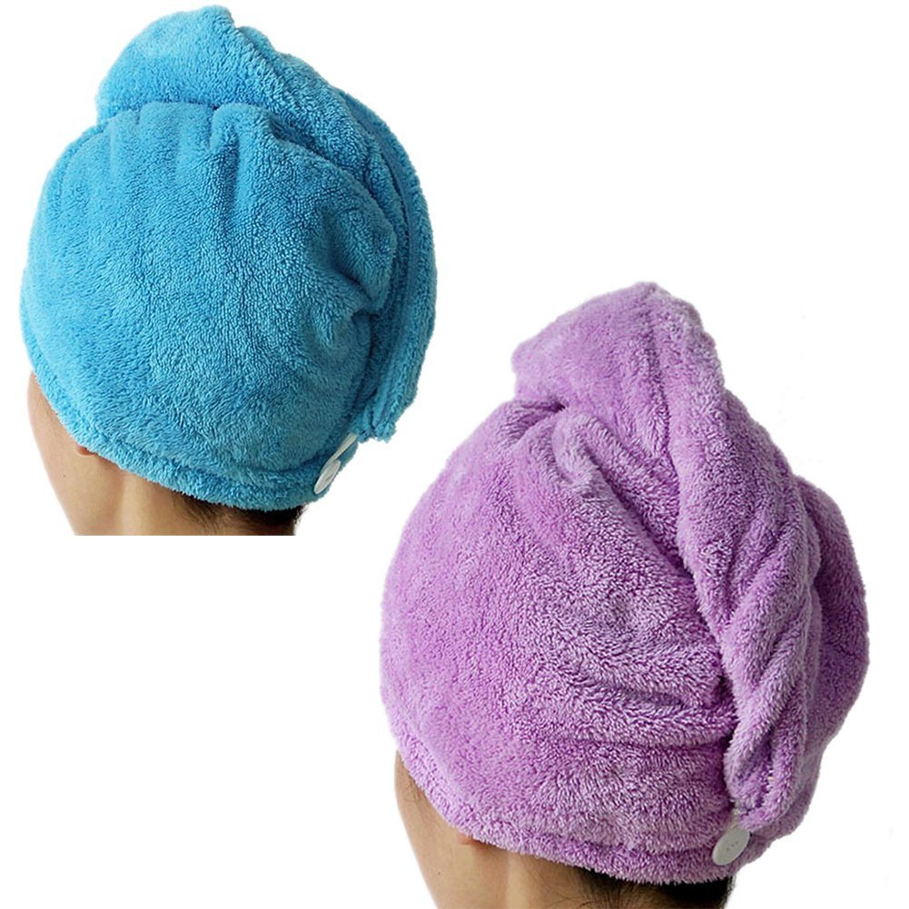 2 Packs MsFeng Superfine Fiber Soft Coral Fleece Ultra Absorbent Twist Dry Hair Cap Towel Bath Head Wrap Turban (Blue and Purple)