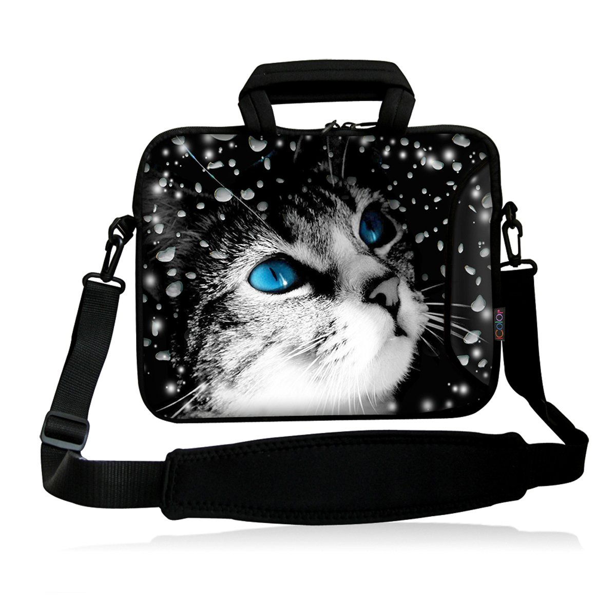 ICOLOR Neoprene Laptop Shoulder Bag with Strap Waterproof Shoulder Case Pouch School Office Work Case Bag with Multi Pictures for Size 13 inch 13.3 Pro/HP/Acer/Dell/Asus/Samsung Notebook Owls