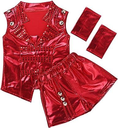 dPois Disfraz de Danza Niños Niñas Chaleco Lentejulas sin Mangas ...