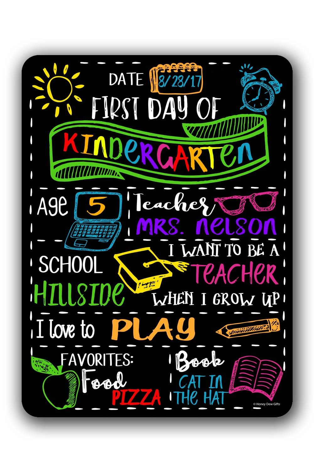 Chalkboard Style First Day of School Customizable Photo Prop Tin Sign - Reusable Easy Clean Back to School