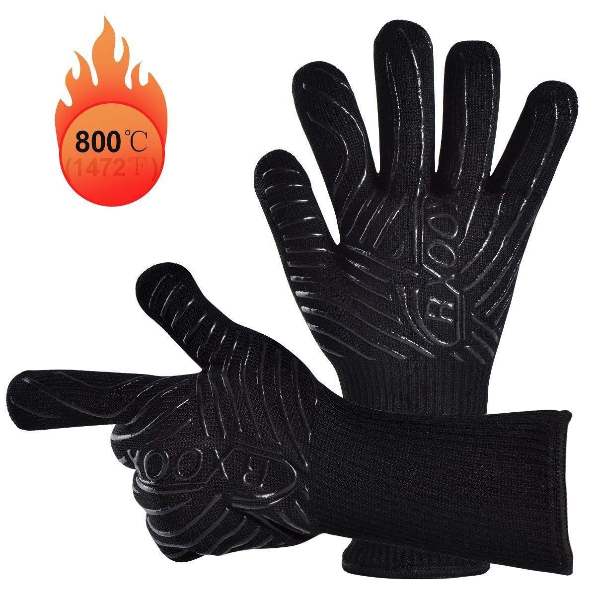 ZJYSM Comfortable, Wearable, Flexible, Lightweight, Professional Custom-Made BBQ Double-Layer High Temperature 800-degree Microwave Camping are Available Gloves Gloves