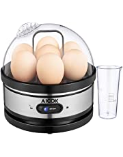 Aicok Cocedor de Huevos, Hervidor de Huevos Eléctrico con Capacidad para 1-7 Huevos Moderno, Cuece Huevos de Acero Inoxidable, Mantenimiento de Temperatura y Apagado Automático