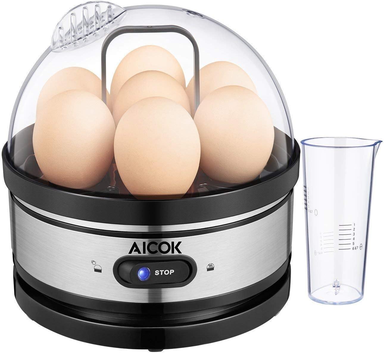 Aicok Cocedor de Huevos, Hervidor de Huevos Eléctrico con Capacidad para 1-7 Huevos Moderno, Cuece Huevos de Acero Inoxidable, Mantenimiento de ...